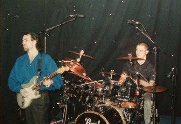 Glenn on guitar, Steve on drums